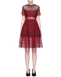 Self-Portrait 'felicia' Tulle Panel Floral Lace Dress - Red