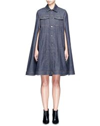 Givenchy - Denim Button Military Cape Coat - Lyst
