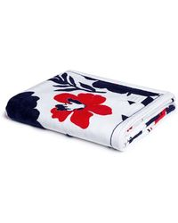 Thom Browne Floral And Stripe Cotton Beach Towel - Blue
