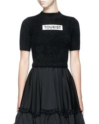 Chictopia - 'tourist' Embroidery Patch Rabbit Fur Blend Cropped Sweater - Lyst