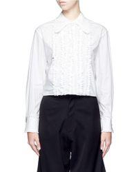 Chictopia - Ruffled Front Cotton Poplin Shirt - Lyst