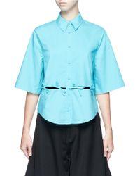 Chictopia - Ribbon Tie Cutout Short Sleeve Shirt - Lyst