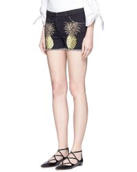 Giamba - Pineapple Print Frayed Denim Shorts - Lyst