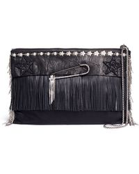 Venna - Pear Star Chain Embellished Leather Fringe Clutch - Lyst