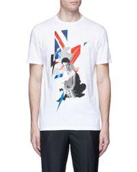 Neil Barrett | Portrait Thunderbolt Print Cotton T-shirt | Lyst