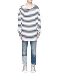 Faith Connexion Oversized Stripe Long Sleeve T-shirt - Blue