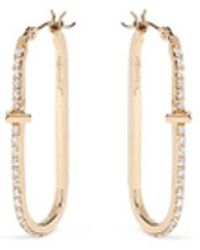 Phyne By Paige Novick - Diamond Pavé 18k Gold Oval Hoop Earrings - Lyst
