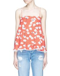 Nicholas Floral Print Tiered Ruffle Cotton Camisole