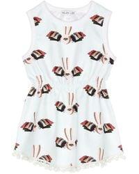 Helen Lee - Bunny Graphic Print Pompom Sleeveless Dress - Lyst