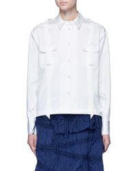 Angel Chen Pleated Hem Grosgrain Ribbon Utility Shirt - Black