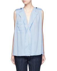 Mo&co. Shoulder Epaulette Cotton-linen Top - Blue