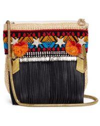 Venna - 'merci' Leather Fringe Embroidered Raffia Crossbody Bag - Lyst