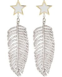 Venna - Detachable Glass Crystal Feather Drop Star Stud Earrings - Lyst