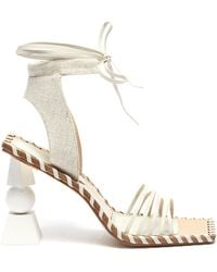 Jacquemus Valerie' Square Toe Sculpted Heel Sandals - White