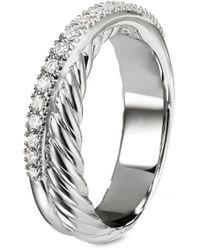David Yurman Diamond Silver Crossover Ring - Metallic