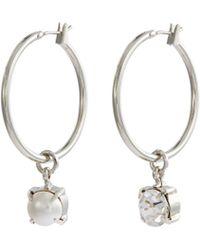 Joomi Lim - Glass Crystal Faux Pearl Charm Mismatched Hoop Earrings - Lyst