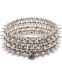 Philippe Audibert - 'amelia Aby' Stud Swarovski Crystal Three Row Elastic Bracelet - Lyst