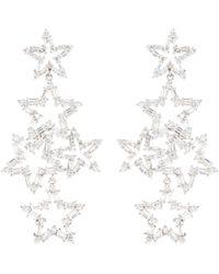CZ by Kenneth Jay Lane Cubic Zirconia Cutout Star Drop Earrings - Metallic