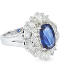 LC COLLECTION - Diamond Sapphire 18k White Gold Ring - Lyst