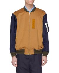 Digawel Contrast Sleeve Wool Melton Ma-1 Bomber Jacket - Multicolor