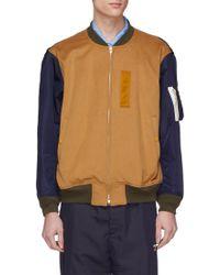Digawel Contrast Sleeve Wool Melton Ma-1 Bomber Jacket - Brown