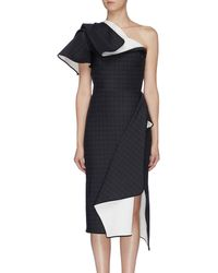Maticevski 'aquatic' Houndstooth Check Folded Panel One Shoulder Dress - Black