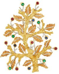 Buccellati - Gemstone 18k Gold Leaf Brooch - Lyst