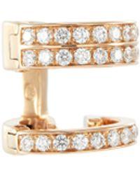 Repossi 'berbère' Diamond 18k Rose Gold Mini Single Hoop Earring - Metallic