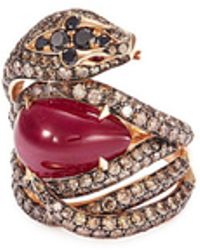 Stephen Webster - Diamond Ruby 18k Rose Gold Snake Ring - Lyst