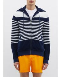 Orlebar Brown - Striped Cotton-terry Zip-up Hoodie - Lyst