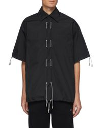 Angel Chen Retractable Drawstring Detail Short Sleeve Shirt - Black