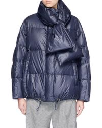MUVEIL Detachable Scarf Down Puffer Jacket - Blue