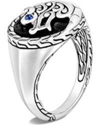 John Hardy 'legends Naga' Sapphire Sterling Silver Signet Ring - Metallic