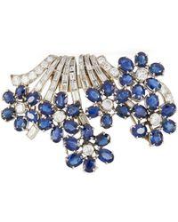 Palais Royal Boucheron Diamond Sapphire Gold Brooch - Multicolor