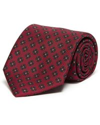 Drake's Floral Print Silk Tie - Red