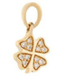 Loquet London Gemstone 18k Yellow Gold Four Leaf Clover Talisman Charm - Metallic