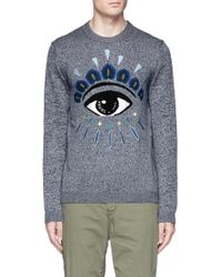KENZO Eye Embroidered Wool-cotton Sweater - Blue