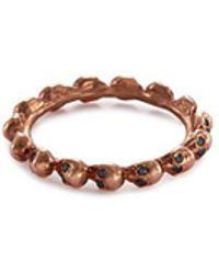 Delfina Delettrez - Diamond 18k Rose Gold Skull Ring - Lyst