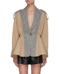 Alexander McQueen - Contrast Panel Single Breast Ruffle Hem Jacket - Lyst