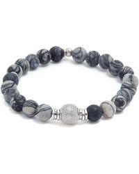 Tateossian - 'stonehenge' Spiderweb Jasper Silver Bead Bracelet - Lyst