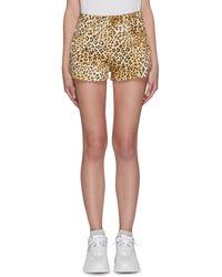 Fiorucci Angel Patch Pocket Leopard Print Shorts - Brown