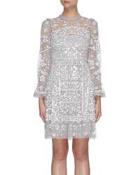 Needle & Thread Sequin Embellished Tulle Mini Dress - Gray