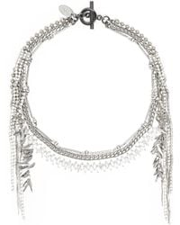 Venna - Glass Crystal Multi Chain Fringe Necklace - Lyst