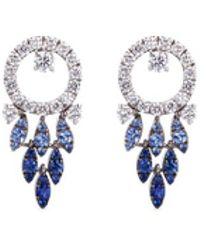 FerrariFirenze 'sole' Diamond Sapphire 18k White Gold Earrings - Metallic