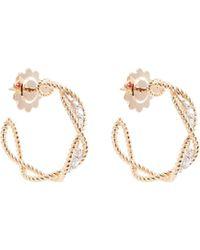 Roberto Coin - 'new Barocco' Diamond 18k Rose Gold Hoop Earrings - Lyst
