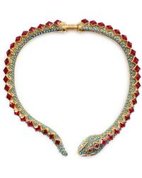 Kenneth Jay Lane - Glass Crystal Beaded Snake Necklace - Lyst