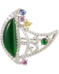 LC COLLECTION - Diamond Sapphire Jade 18k White Gold Brooch - Lyst