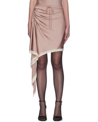 T By Alexander Wang Lace Trim Ruched Asymmetric Satin Skirt - Pink