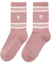 Alexander McQueen Stripe Skull Socks - Pink