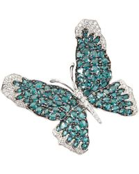 LC COLLECTION Diamond Alexandrite 18k White Gold Butterfly Brooch - Metallic